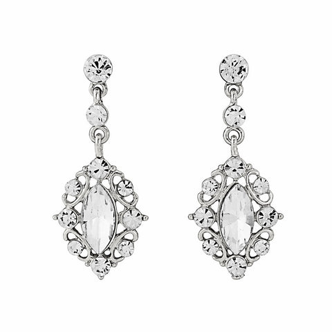 Crystal chandelier drop earrings made with clear and glass crystals on a silver tone finish, they have a drop of 4cm.