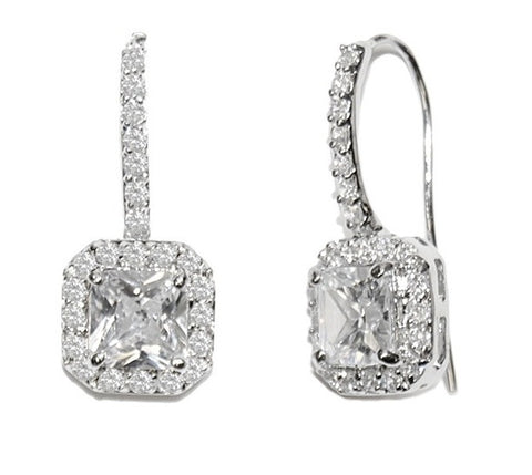 Crystal earrings in a pretty square design made from high quality clear cubic zirconia crystals on a silver tone finish, they have a drop of 2.5cm.