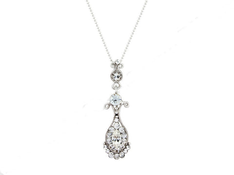 Elegant tear drop shape crystal necklace