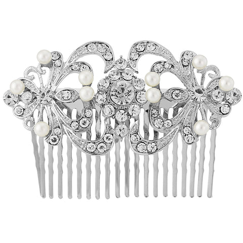 Amal Crystal and Pearl Hair Comb -Available in Silver or Gold