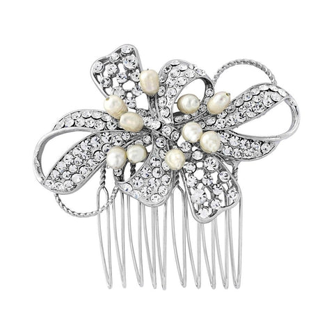 Ariana Crystal and Pearl Hair Comb