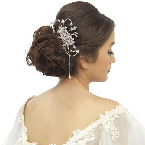Nicole Crystal and Pearl Hair Comb