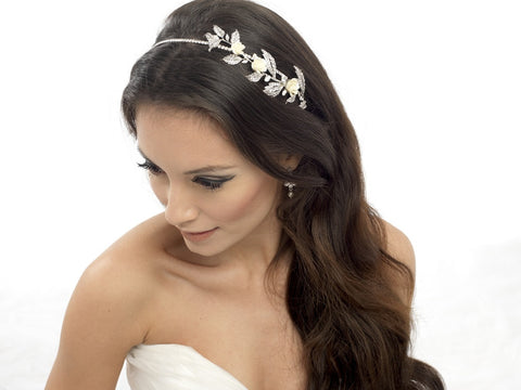Megan Porcelain Rose and Crystal Hair Band