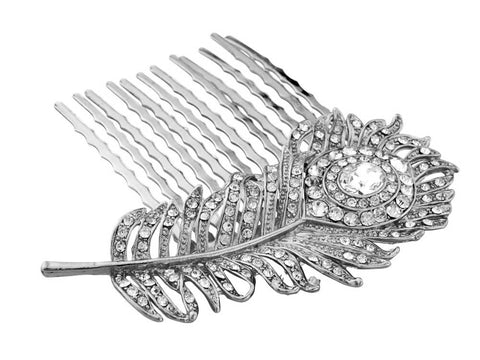 Sally Crystal Peacock Feather Hair Comb Available in Gold, Silver and Rose Gold