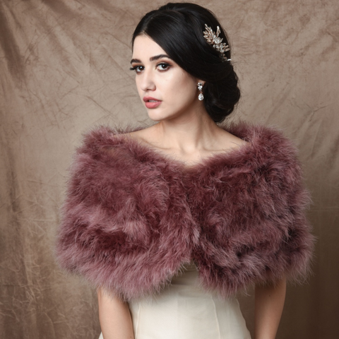 Dark Pink Marabou Feather Wrap won by a model over a wedding dress