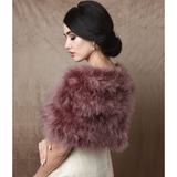 Back View Dark Pink Marabou Feather Wrap won by a model over a wedding dress
