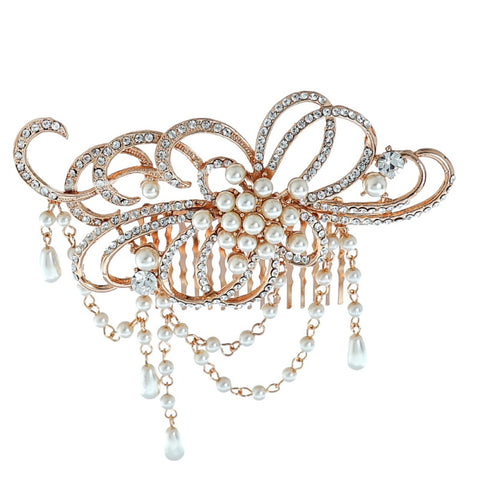 Elise Crystal and Pearl Hair Comb Available in Rose Gold & Silver