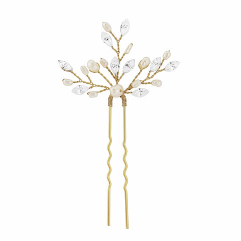 SassB Elodie Crystal and Pearl Hair Pin