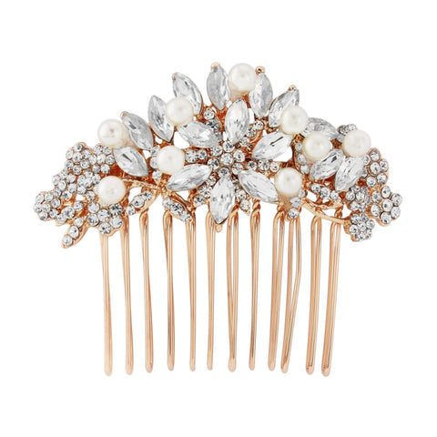 Emilia Crystal and Pearl Hair Comb Availble in Rose Gold & Silver