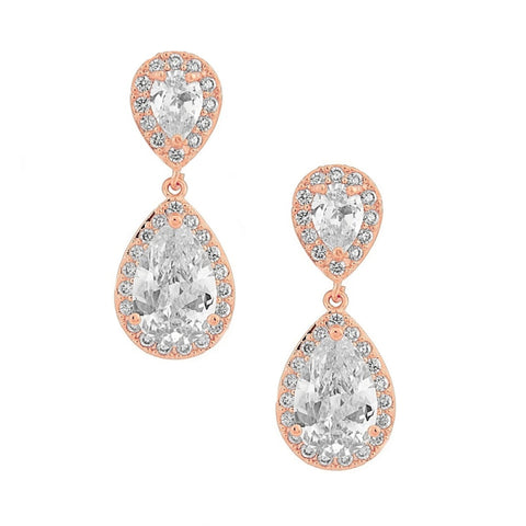 Crystal tear drop earrings made from top grade clear cubic zirconia crystals on a rose gold finish, they measure 2.5cm long.