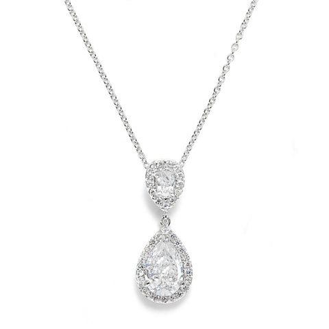 Crystal necklace made from clear cubic zirconia crystals on a rhodium plated silver tone finish, pendant measures 2.5cm long.
