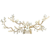 Bridal Hair Comb with ivory porcelain flowers 20cm wide