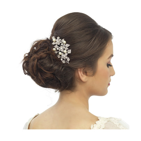 Nuala Crystal and Pearl Hair Comb Available in Rose Gold & Silver