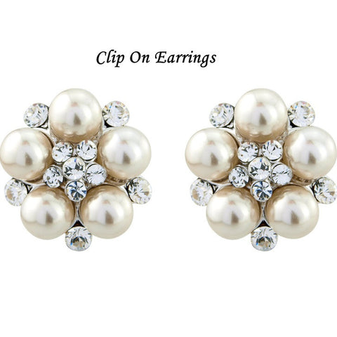 Georgia Pearl and Crystal Earrings - Clip On