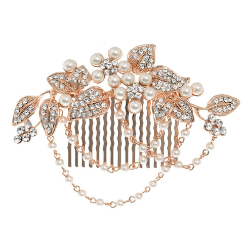 Georgiana Crystal and Pearl Hair Comb Available in Rose Gold & Silver