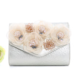 Rosa Floral Evening Clutch Bag Available in Blush, Navy, Silver and Gold