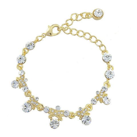 Crystal bow bracelet made with high quality clear cubic zirconia crystals on a gold tone finish