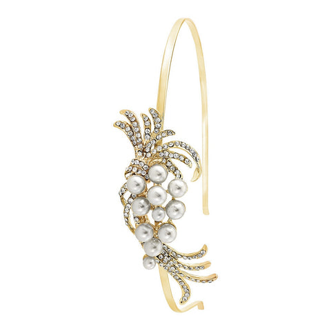 Gita Crystal and Pearl Headband Available in Gold, Silver and Rose Gold