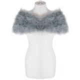 Silver Grey Feather Stole on a half mannequin