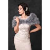 Front view of bride wearing a silver grey marabou feather stole wrap