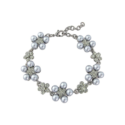 Simulated pearl bracelet with light grey pearls on a rhodium plated finish, bracelet is adjustable with lobster clasp, width 1.5cm.