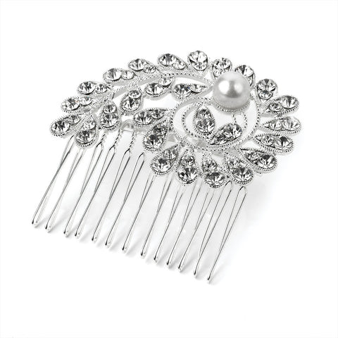 Pearl and Crystal Swirl Hair Comb