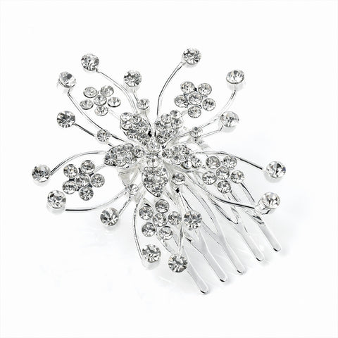 Crystal Flower Spray Hair Comb