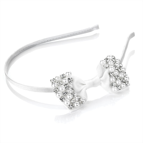 Pearl and Crystal Bow Headband
