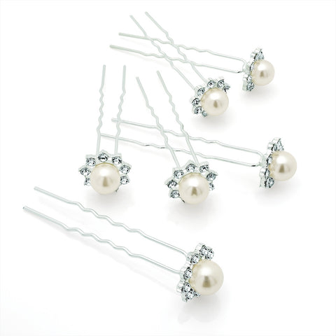 Pearl and Crystal Flower Hair Pins Set of 6