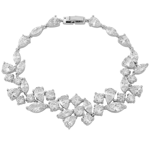 Clasp fastening crystal bracelet with teardrop and square crystals made with high quality cubic zirconia crystals on a rhodium plated silver finish, length 18cm.