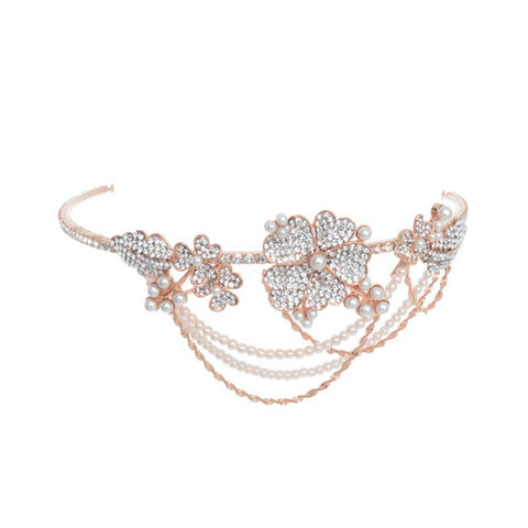 Johanna Crystal and Pearl Deluxe Headband Available in Gold, Silver & Rose Gold