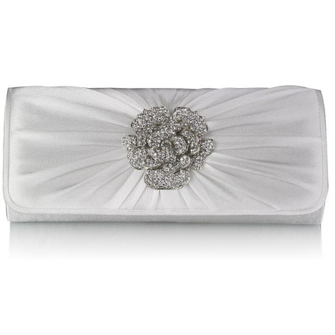 Geri Crystal Rose Satin Clutch Bag