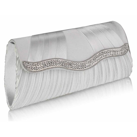 Ada Luxury Crystal Satin Clutch Handbag