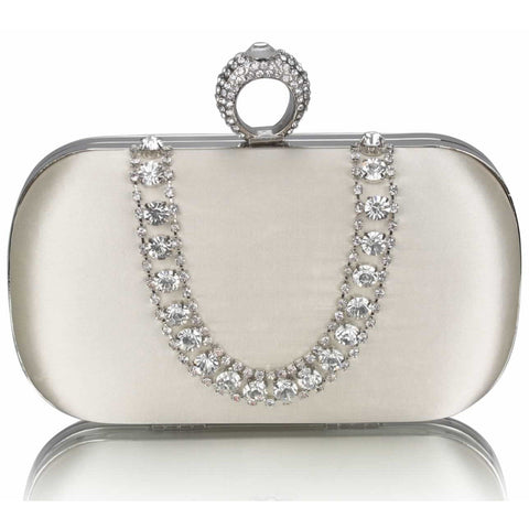Katara Satin and Crystal Clutch Handbag