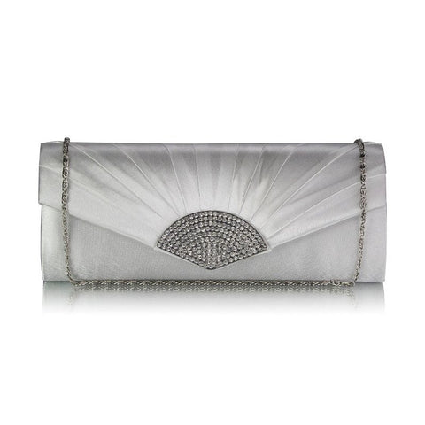 Delia Art Deco Crystal and Satin Clutch Bag