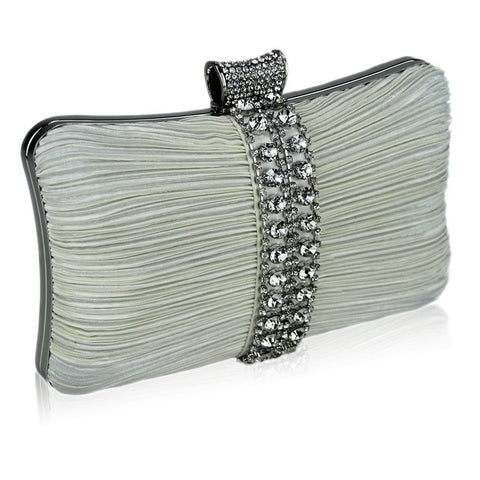 Riya Satin and Crystal Clutch Handbag