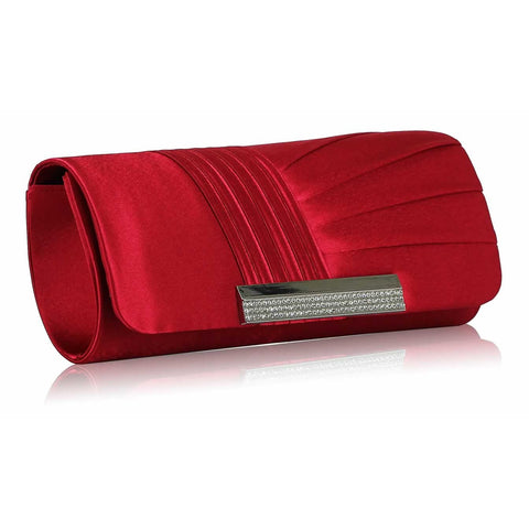 Donna Satin and Crystal Clutch Handbag