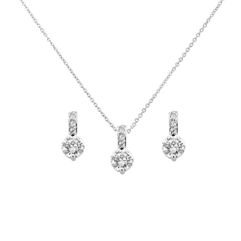 Crystal necklace and earrings set made from clear cubic zirconia crystals on a rhodium plated silver tone finish.
