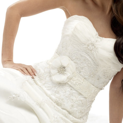 Ivory Flower Bridal Belt on Jacquard Belt