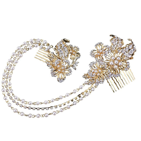 Monica Crystal Headdress Tiara Gold