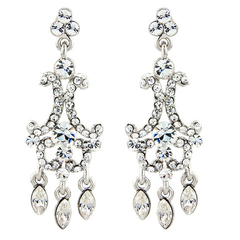 Crystal chandelier drop earrings made from high quality clear crystals they have a drop of 4cm
