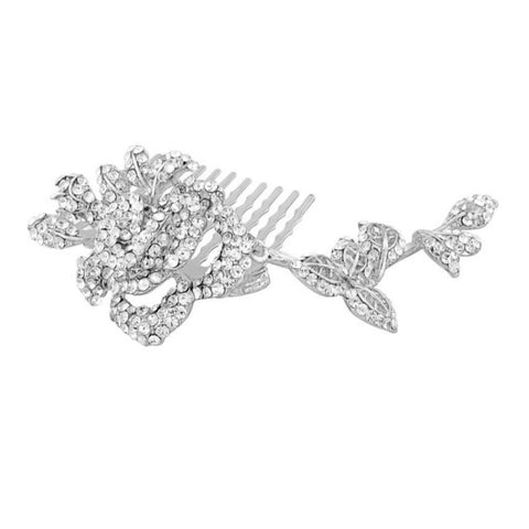 Katy  Crystal Rose Hair Comb