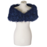 Navy Blue Feather Stole on a half mannequin