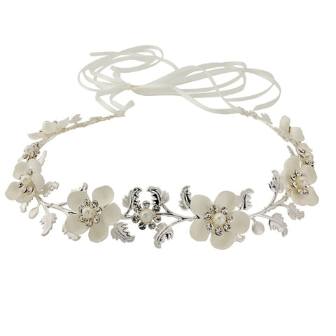 SassB Opulence Pearl and Crystal Floral Hair Vine