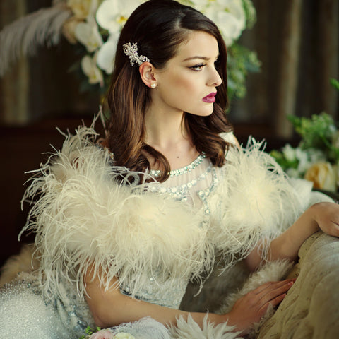 Bride Wearing Ivory Ostrcih Feather Shrug / Stole/ Wrap across her shoulders