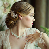 SassB Regal Crystal and Pearl Necklace Set