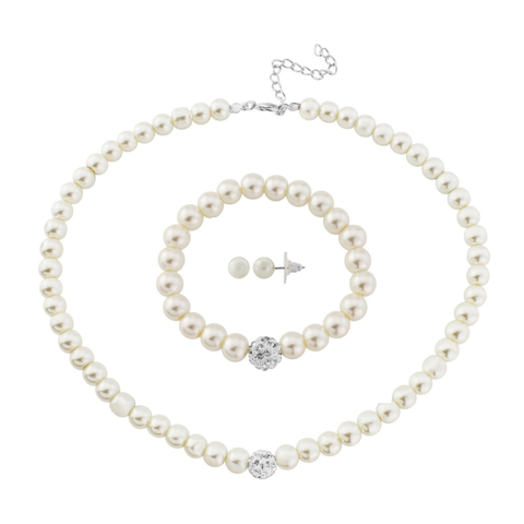 Ivory pearl necklace, earrings and bracelet set, the necklace and bracelet have a lovely silver crystal bead at the centre.
