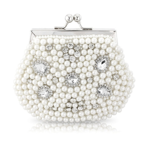 Rhian Pearl and Crystal Clutch - White