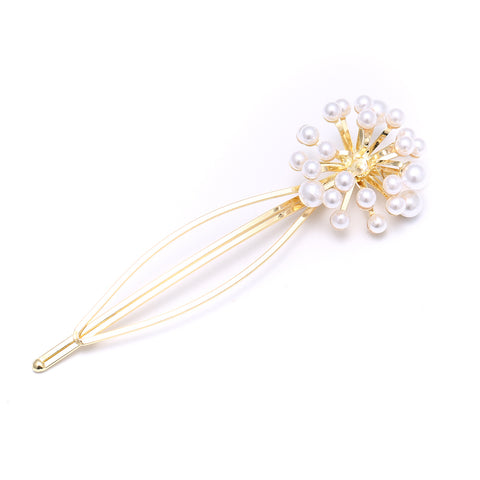 Gold Pearl burst flower Gold Hair Clip