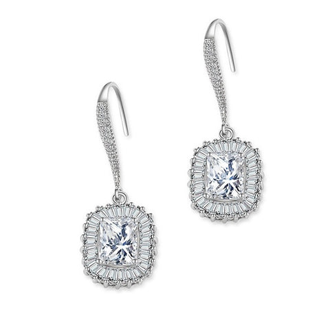 High quality sqaure cut crystal drop earrings in a hook style made with high quality cubic zirconia crystals on a silver tone finish